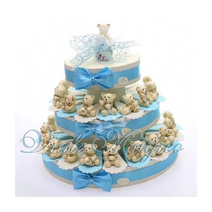 Ben noto Bomboniere Nascita Battesimo Torta con Orsetto Panna e Oro Nascita  NK21