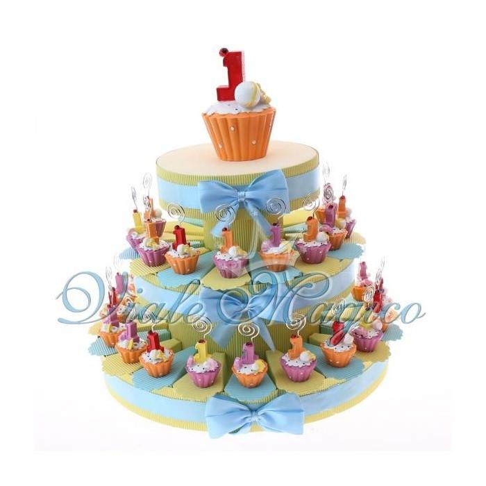 Eccezionale Bomboniere Primo Compleanno Torta Portaconfetti con Cupcake  BH03