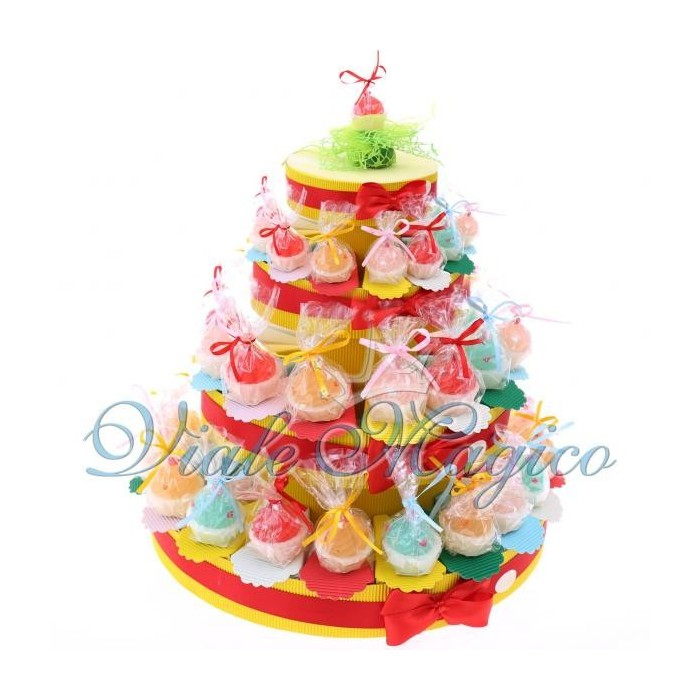 Torta bomboniere portaconfetti candele cupcake colorate for Candele colorate