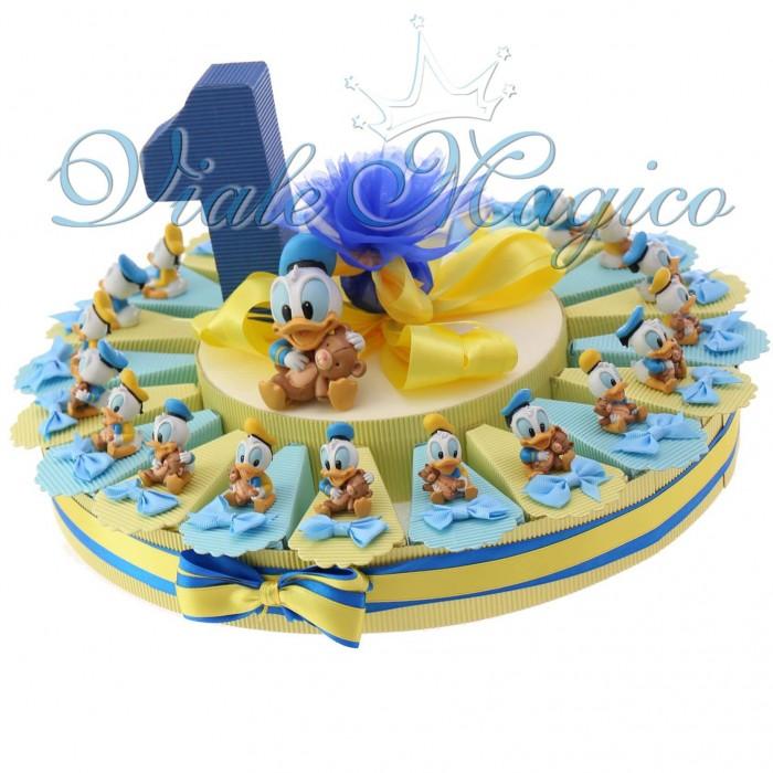Conosciuto Torta Bomboniere Nascita Primo Compleanno Disney Statuina Paperino  UN07