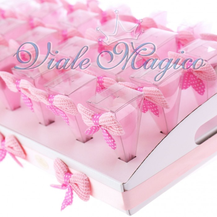 Super Bomboniere Nascita Battesimo Primo Compleanno Bimba Coni Rosa con  IB02