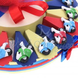 Bomboniere Compleanno Comunione Battesimo Torta Confetti con Magnete Motoclicletta Color