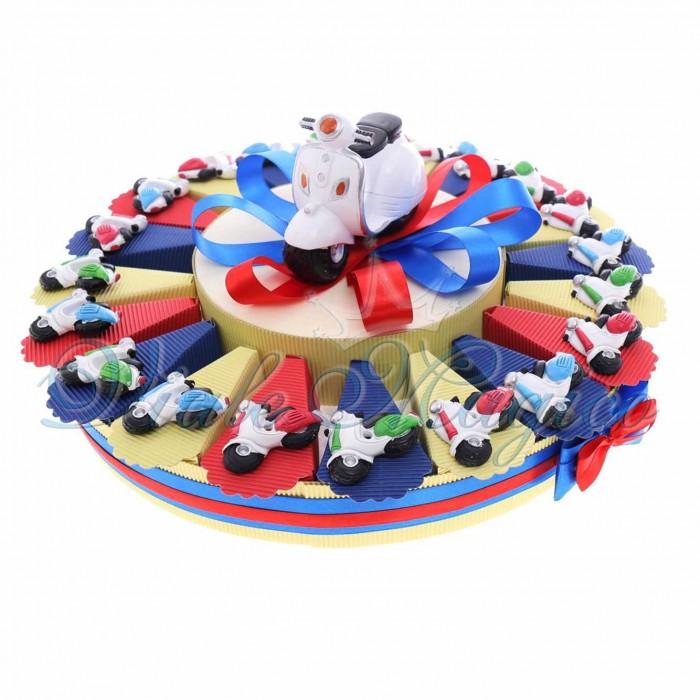 Bomboniere Compleanno Comunione Battesimo Torta Bomboniere con Magnete Vespa Color