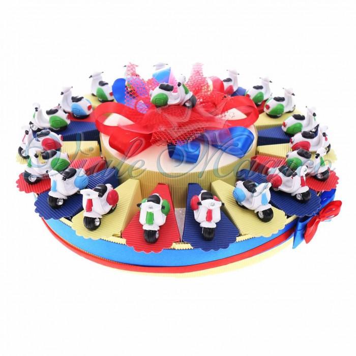 Bomboniere Compleanno Bimbo Prima Comunione Battesimo Torta Bomboniere con Statuina Vespa Color