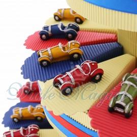 Bomboniere Compleanno Comunione Alzatina Torta Confetti con Statuina Auto d'epoca Color