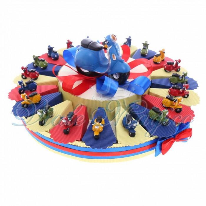 Bomboniere Online Comunione Compleanno Torta Confetti con Statuina Mini Vespe Color