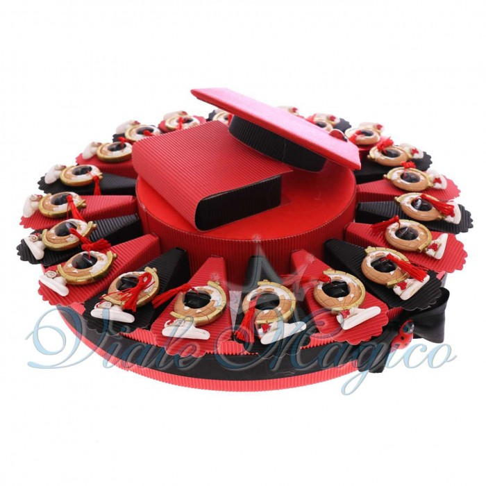 Torta Bomboniere laurea Confetti Magnete Mappamondo con Nappina