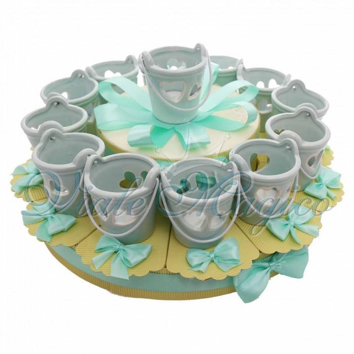 Bomboniere Matrimonio Promessa Anniversario Maxi Torta con Lanterna Secchiello Tiffany