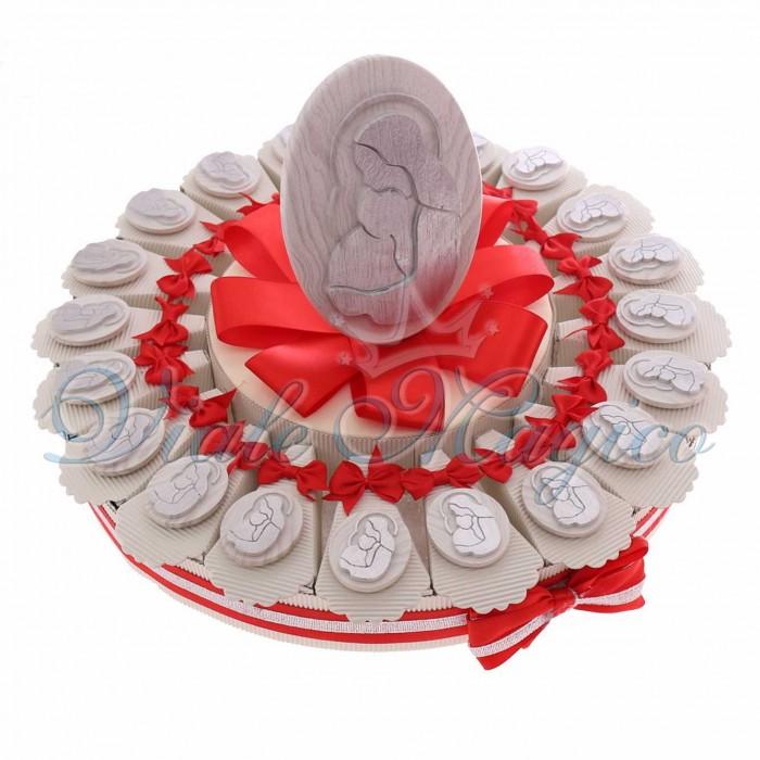 Torta Bomboniere Battesimo Cresima Prima Comunione Magnete Maternità Legno