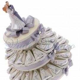 Torta Bomboniere Magnete Sposi con Fiori
