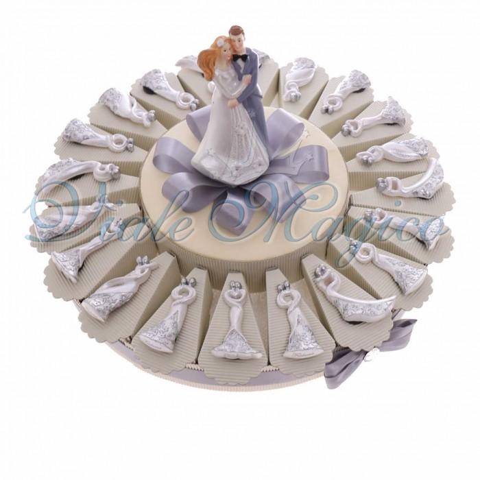 Torta Bomboniere Matrimonio Anniversario Promessa Magnete Sposi con Fiori
