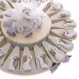 Torta Bomboniere Matrimonio Anniversario Magnete Dolci Sposini Bicolore