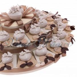 Maxi Torta con Portagioie Bianco Cuore Farfalla