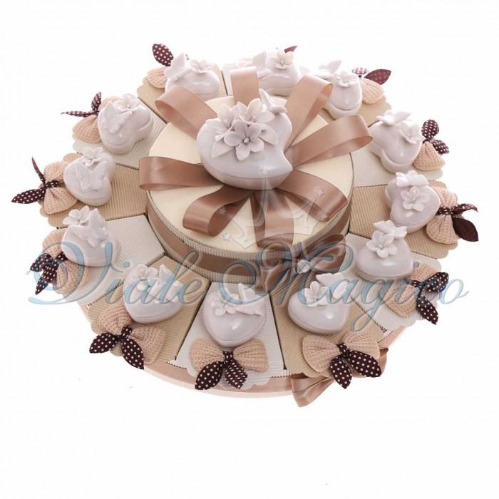 Torta Bomboniera Matrimonio Promessa Anniversario con Portagioie Bianco Cuore Farfalla