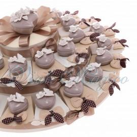 Torta Bomboniere Matrimonio Promessa Anniversario con Portagioie Tortora Cuore Farfalla