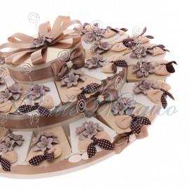 Maxi Torta con Memoclip Fiori Tortora in Porcellana