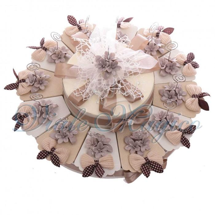 Torte Bomboniere Matrimonio Comunione Confettata Alzatina con Memoclip Fiori Tortora in Porcellana