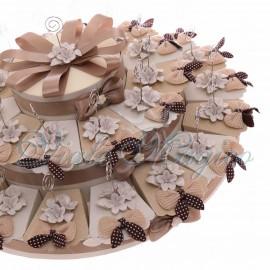 Torta Bomboniere Matrimonio Anniversario con Memoclip Fiori Bianchi in Porcellana