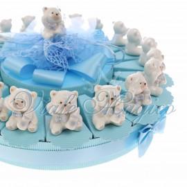 Torta Confetti con Statuina Orsetto Bimbo con Biberon New