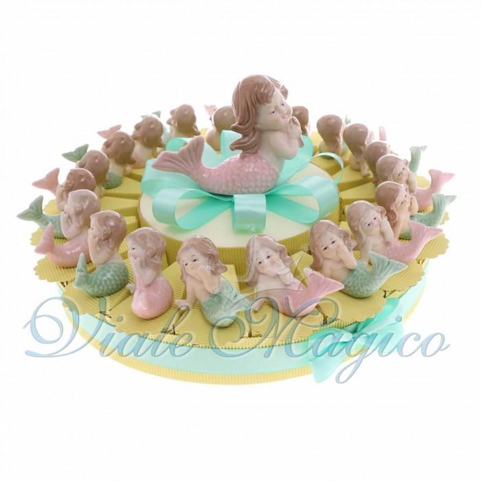 Torta Bomboniere Comunione Battesimo Bimba con Sirenetta in Porcellana