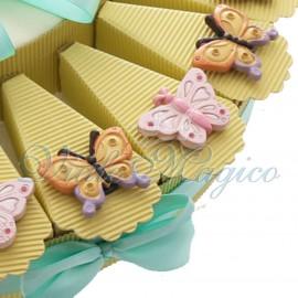 Torta Bomboniere Compleanno Matrimonio Magnete Farfalle Mix Color New