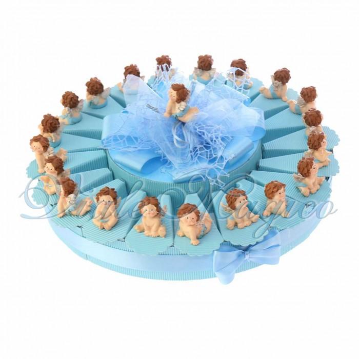 Torta Bomboniere a poco prezzo Battesimo con Statuina Angioletto Bimbo