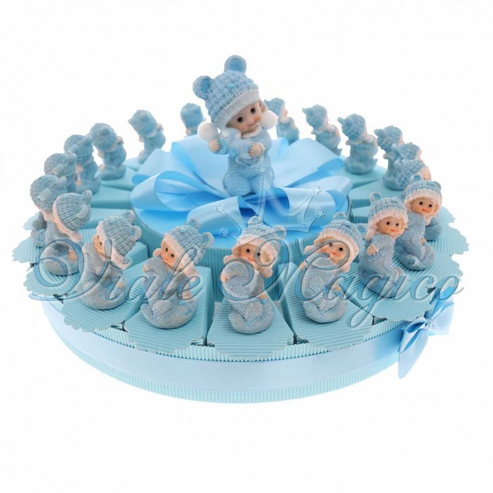 TortaBomboniere Nascita Battesimo Confetti con Statuina Bimbo con Tutina New