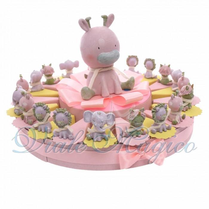Torta Bomboniere Nascita Battesimo Primo Compleanno con Statuine Safari Bimba