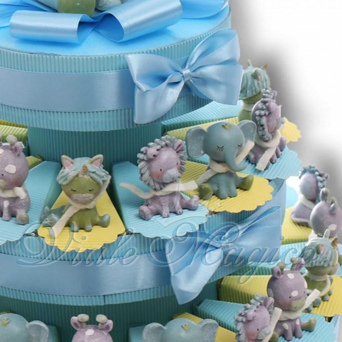 Torta Bomboniere Nascita Primo Compleanno Comunione con Statuine Safari Bimbo