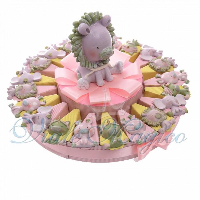 Torta Bomboniere Nascita Primo Compleanno con Magnete Safari Bimba