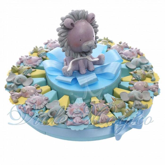 Torta Bomboniere Primo Compleanno Nascita Battesimo con Magnete Safari Bimbo