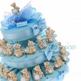 Torta Confetti con Statuina Orsetto Floreale Maxi