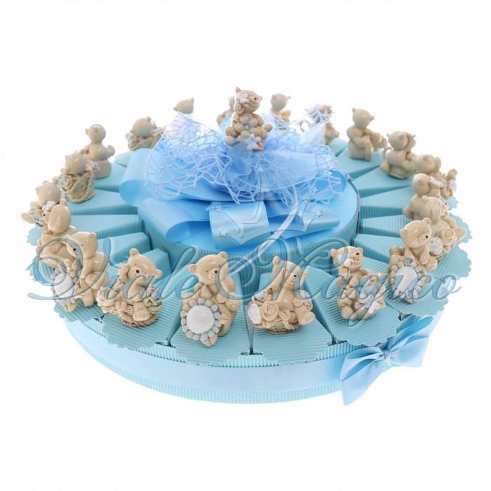 Torta Bomboniere Battesimo Nascita Primo Compleanno Confetti con Statuina Orsetto Floreale Maxi