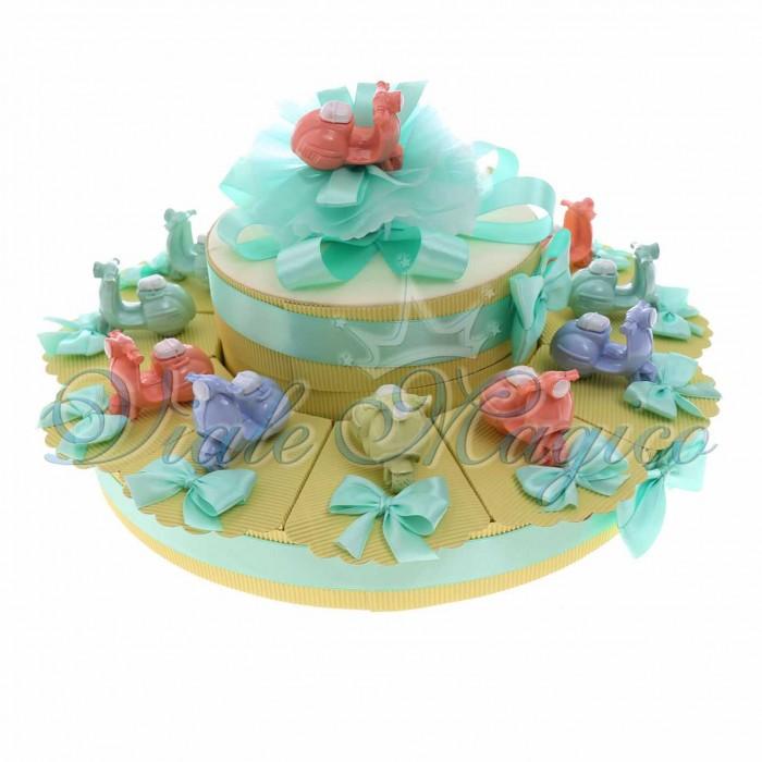 Torta Bomboniere Compleanno Offerte con Statuina Vespa Pastello