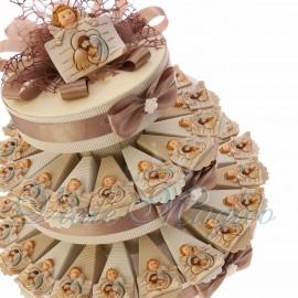 Torta Bomboniere Placchetta Angioletto con Sacra Famiglia