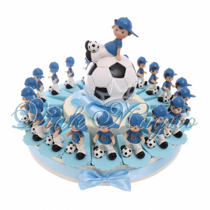 Torta Bomboniere Sport Calcio Compleanno Comunione con Statuine Calciatore Cappello