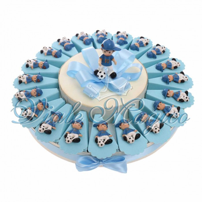 Torta Bomboniere Compleanno Comunione Calcio Calciatore Sport con Magnete Calciatore Cappello