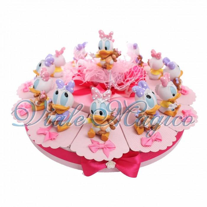Torta Bomboniere Paperina Disney Bimba con Statuina Baby Orsetto