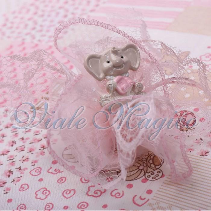 Bomboniera Battesimo Nascita Bimba Primo Compleanno Sacchetto in Pizzo con Magnete Elefante Sweet