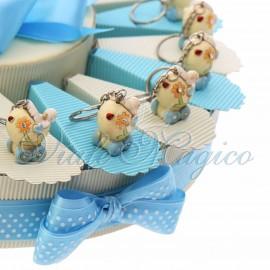 Torta Confetti con Portachiavi Carrozzina Flower Bimbo