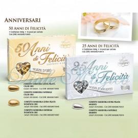 Confetti Crispo Pelata Argento per le Nozze D'Argento da 500 g