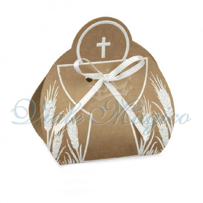 20 PZ Scatoline Calice Prima Comunione Croce Sacra Avana
