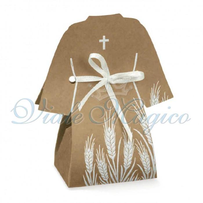 Bomboniera Fai da Te Economiche 20 PZ Scatoline Tunica Prima Comunione Croce Sacra Avana