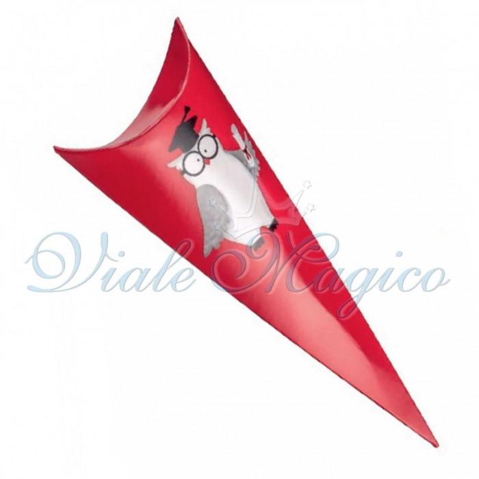 Bomboniere Laurea Faidate 20 PZ Cono Rosso Linea Gufetto Laureato
