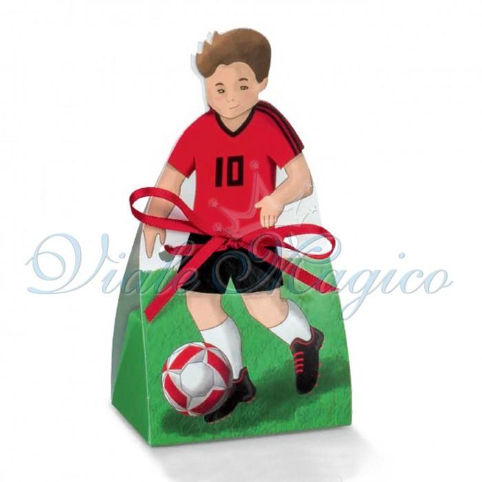 Bomboniere Calcio Fai da te Bimbo Compleanno 20 PZ Scatoline Calciatore RossoNero