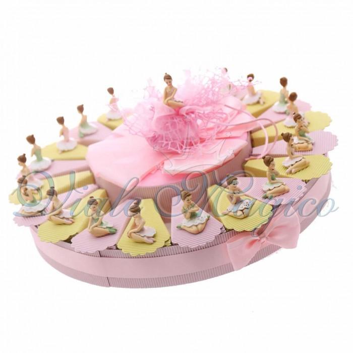 Torta Bomboniere Prima Comunione Bimba Statuina Ballerina Rosa e Verde