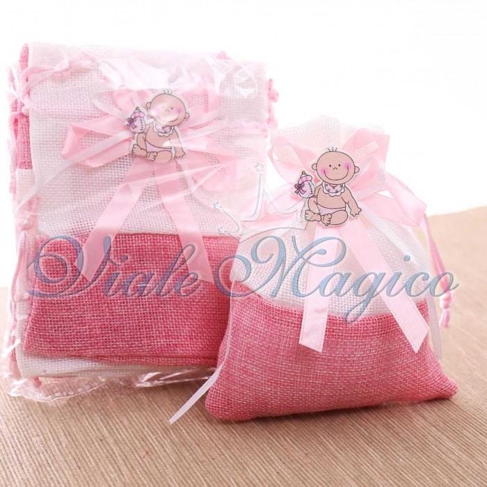Bomboniera Fai da Te per Nascita 10 PZ Sacchetti Bicolore con Bebè Rosa