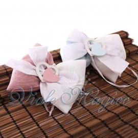 10 PZ Sacchetti Papillon con Cuori Bicolor