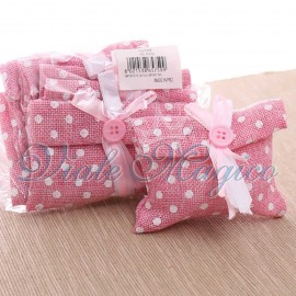 10 PZ Pochette Pois Rosa