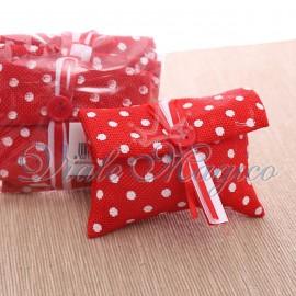 Bomboniere Laurea Faidate 10 PZ Pochette Pois Rosso
